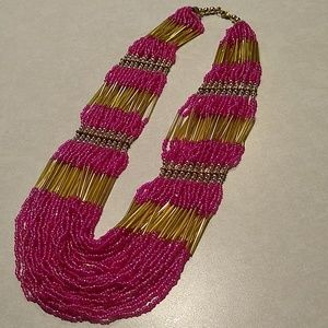 Pink Glass Hand-beaded Necklace